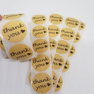 200 pieces circle Kraft Thank you stickers